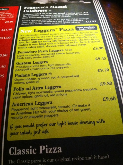Large print menu at Pizza Express