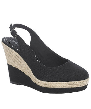 Black, round toed, wedge heel shoe with straw detailing from New Look