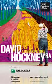 Image of David Hockney at painting at the RA