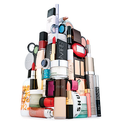 A mountain of beauty products
