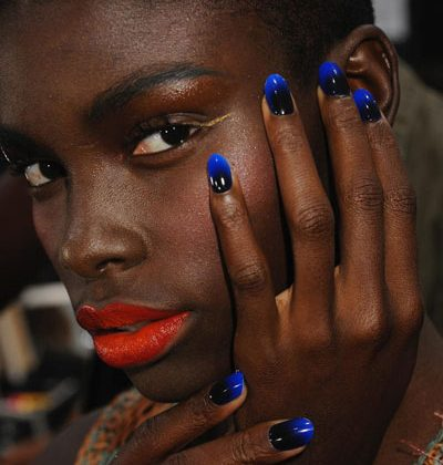 Two tone nails on fabulous model...totes amaze!