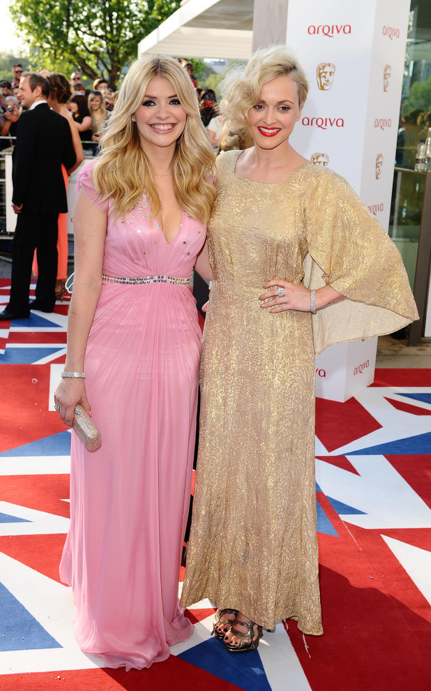 Holly and Fearne in pink and gold dresses
