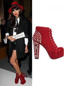 Jameela Jamil and funky red statement heel boots