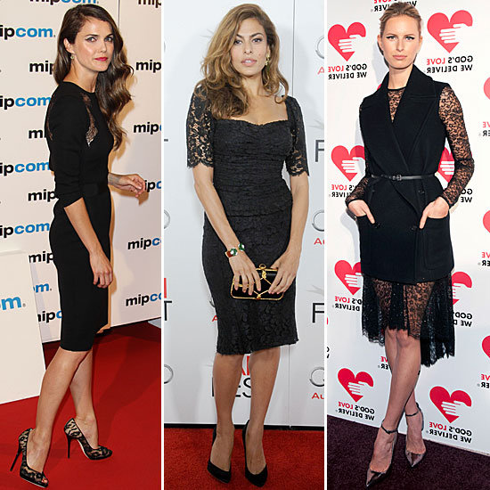 Celebrities wearing black lace dresses