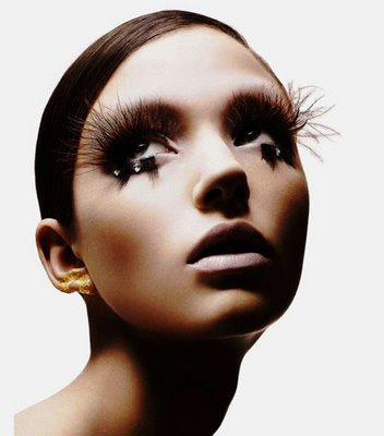 Model with long lashes