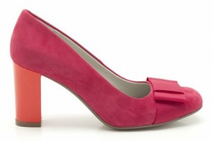 Pink and orange block heel suede shoe with flat bow...gorgeous I tell ya!