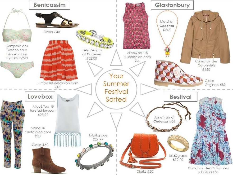 A range of festival fashion items