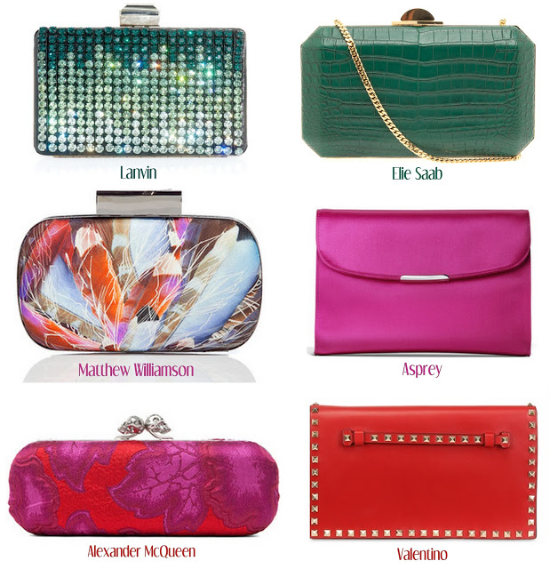 An assortment of brightly coloured clutch bags (red, pink, green and multicoloured) in varying shapes.