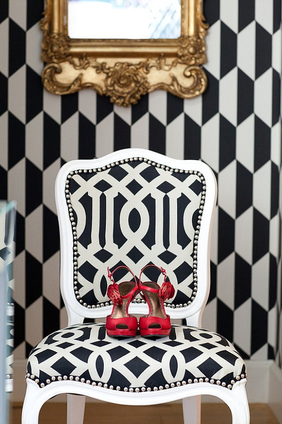 Monochrome geometric print chair and wallpaper