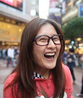 Woman wears glasses with no lenses