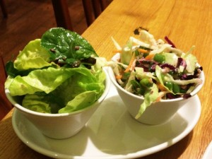Salad sides that come with the bunless burger - includes slaw with no mayo