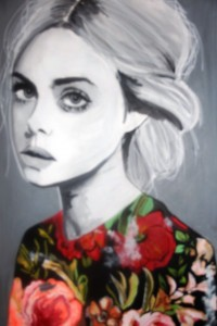 Black and White Flowers - Painting of woman
