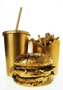 Mc Donalds - The Golden Arches - Burger fries and a drink in gold paint