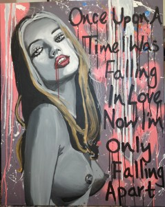Once Upon A Time I was Falling In Love - painting of woman with words