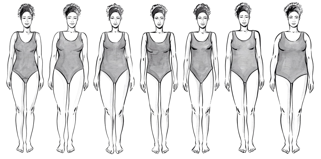 Illustrations of women with varying body shapes and of varying sizes