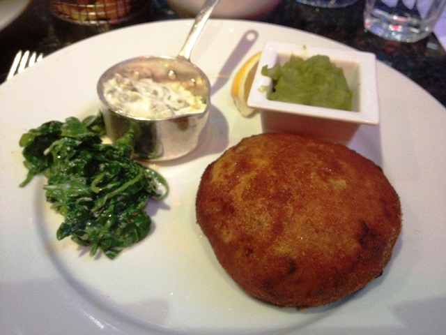 Fishcake and mushy peas