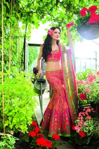 Raspberry Pink, Orange & Green Lengha