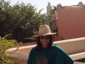 Kiesha Meikle in Marrakech with a straw hat