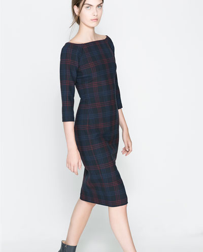 zara fitted check dress