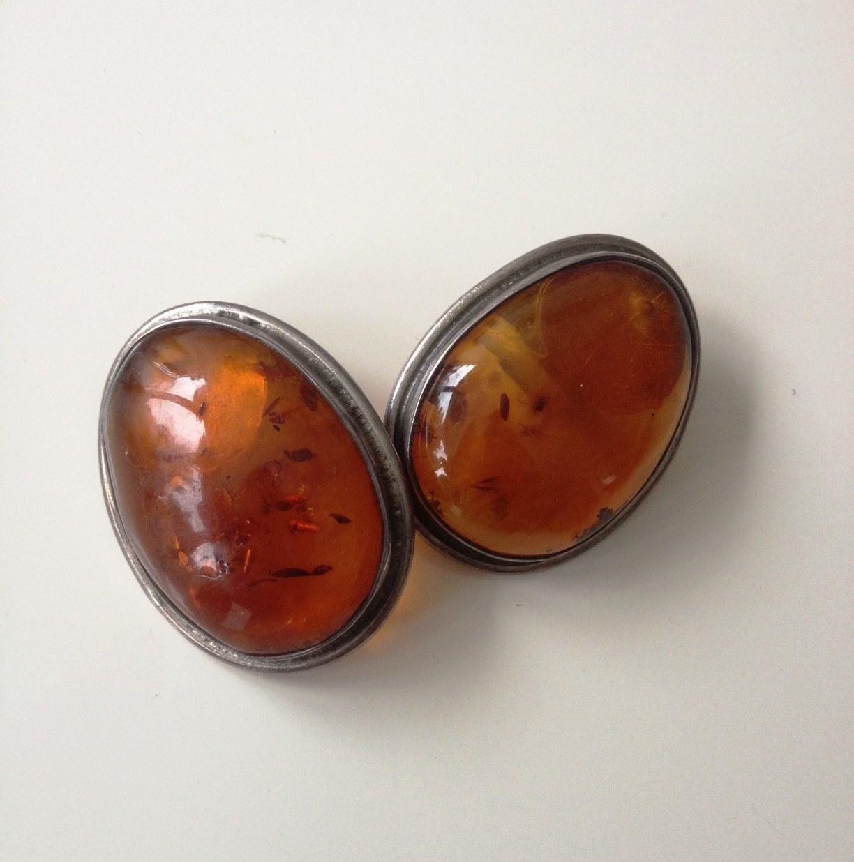 Oval Stone Clip Earrings £20