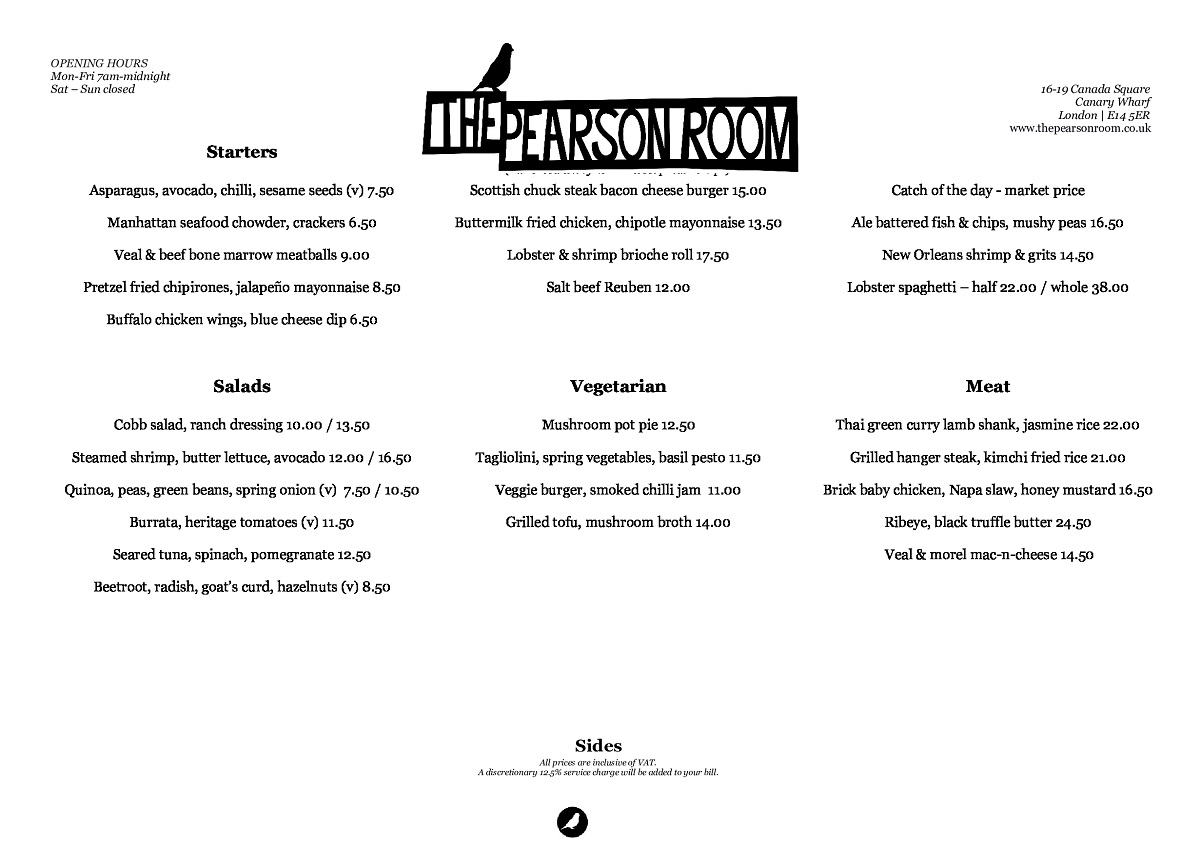 The Pearson Room  menu