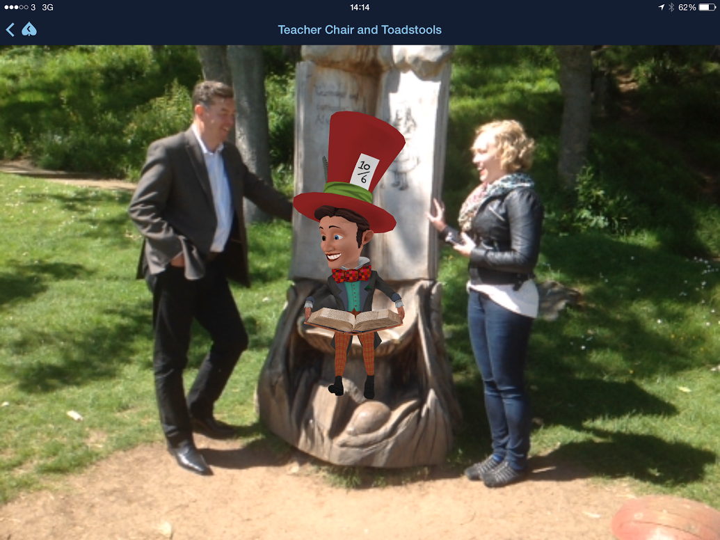 Digital image of Simon and Linn with Mad Hatter
