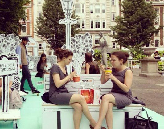 the PROPERCORN Pop-Up Summer events in Golden Square, Soho.