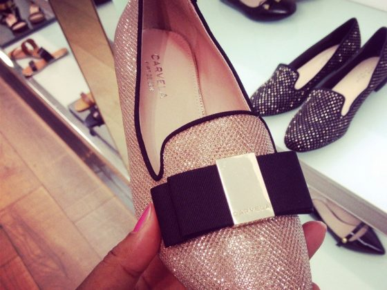Glittery flat shoes by Carvela (with black bow)
