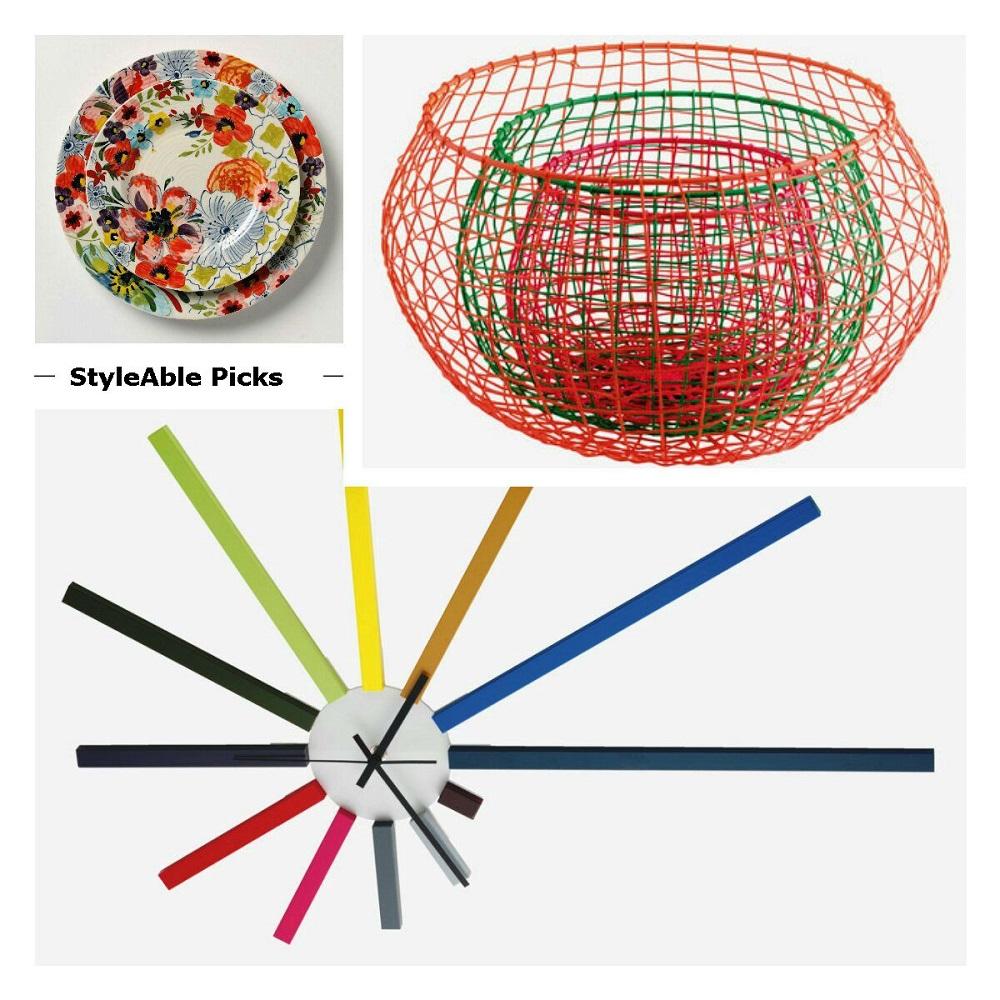 Habitat basket, plate, clock