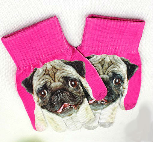 Pink Primark gloves with dog face print