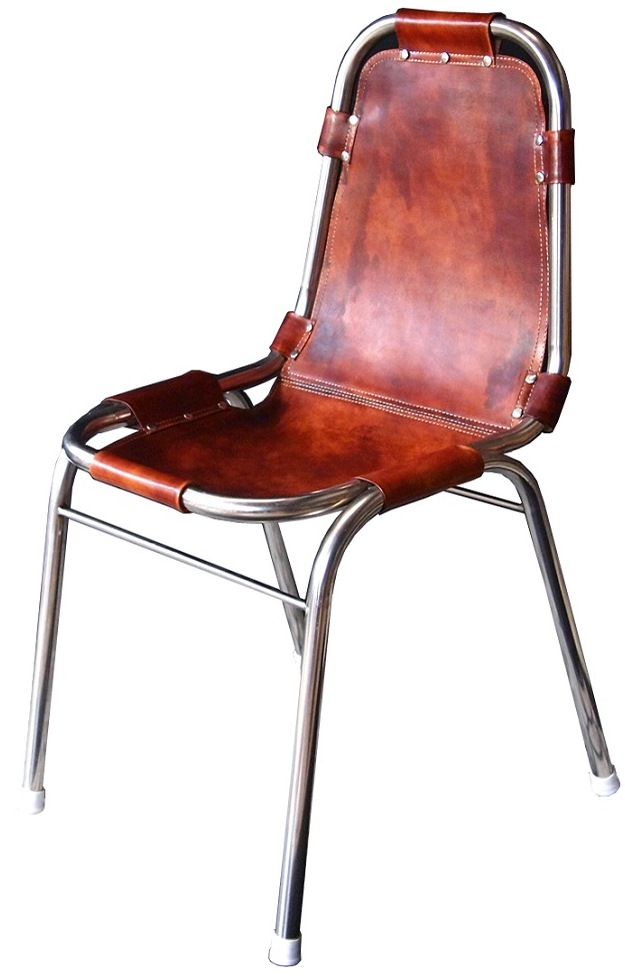 Les Arc Style Leather Sling Chair (Polished Steel Frame)