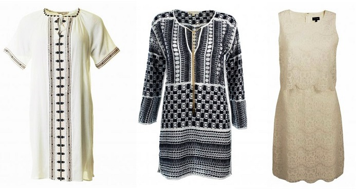 70's style style kaftans and lace dress
