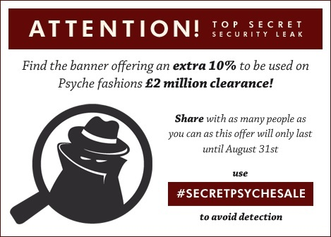 Enter the code #secretpsychesale to get an extra 10% off of sale stock