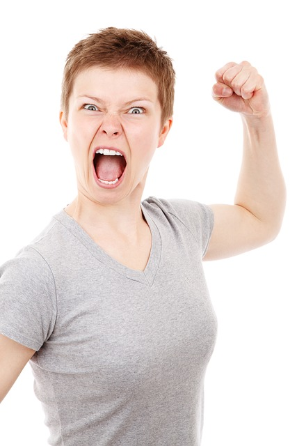 Angry woman punching