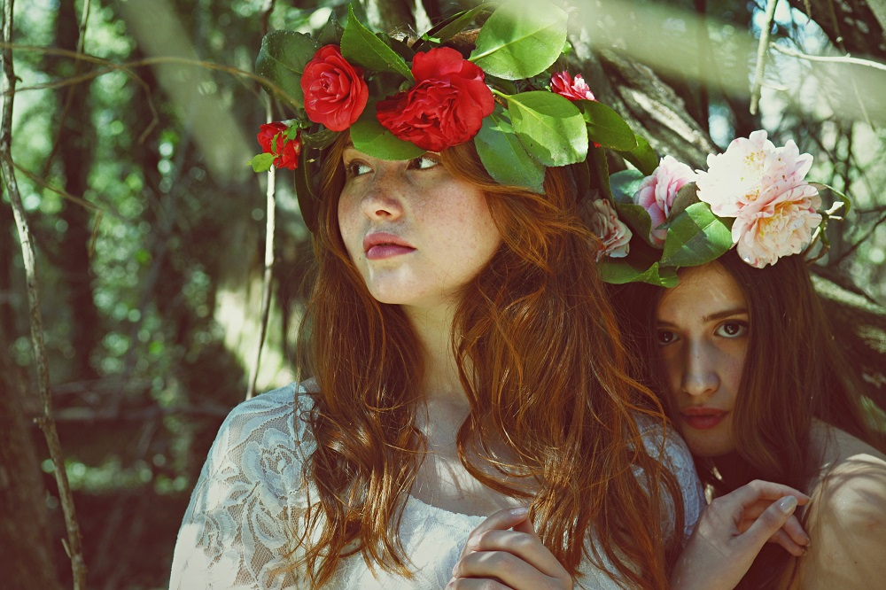 Women with flower headbands