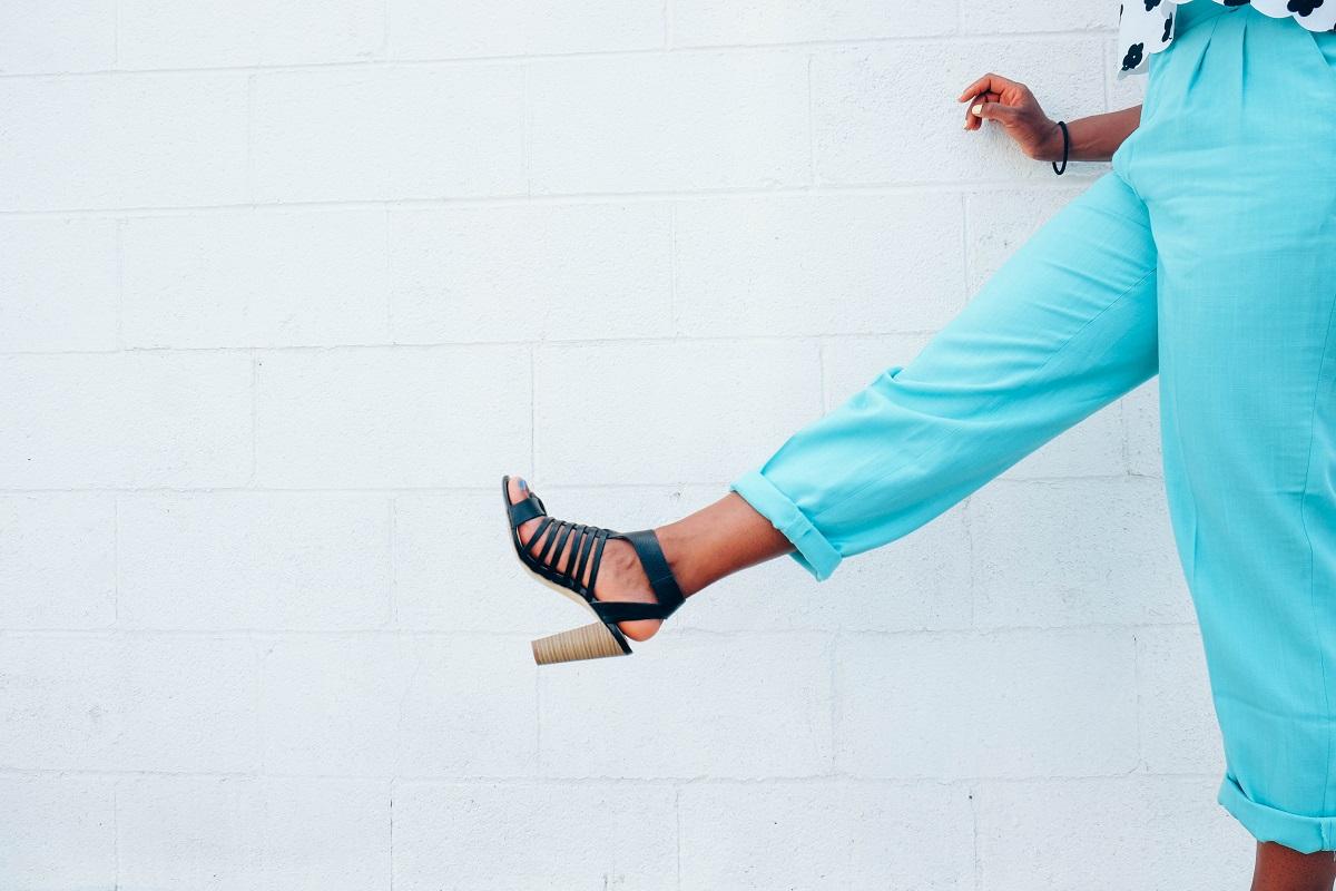 Black woman kicking the air