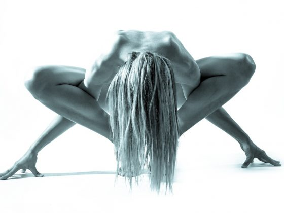 Black and white yoga image