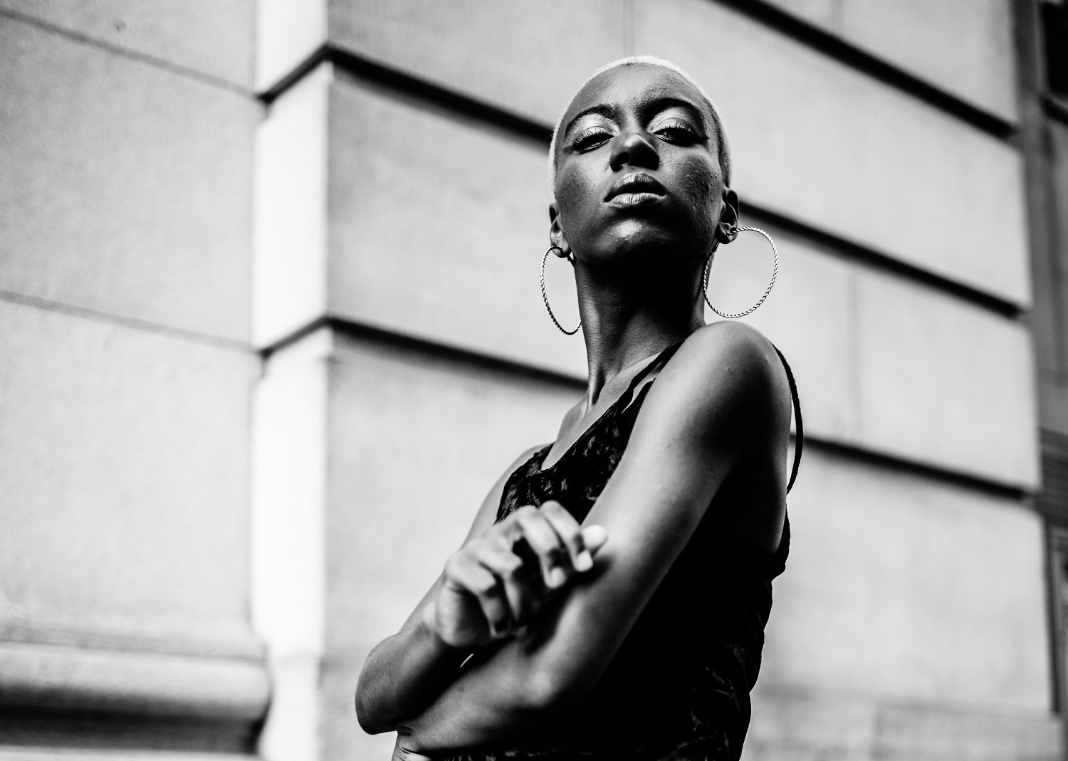 Black woman with shaved hair