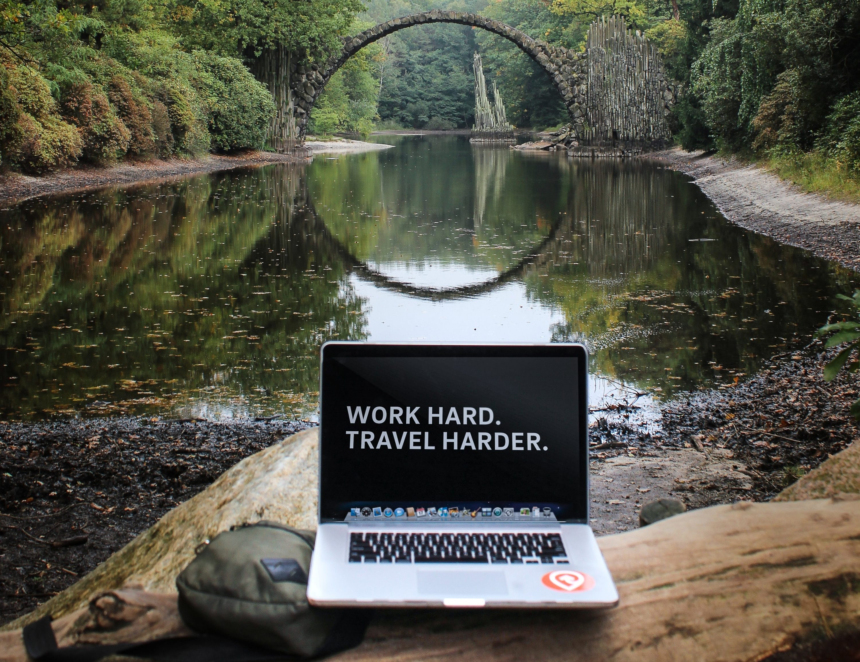 Laptop in forest