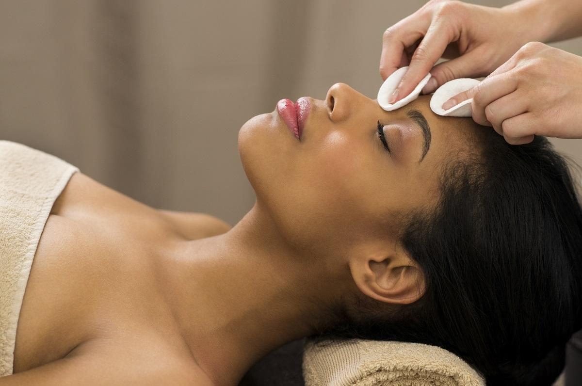 Black woman skin treatment