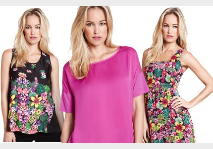 Marks and Spencer floral and colour block tops