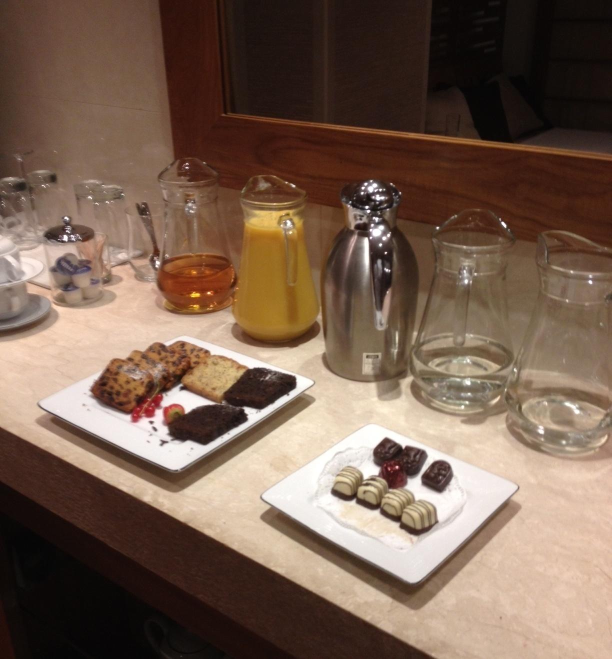 Chocs and juice at Ajala Spa, St Pauls