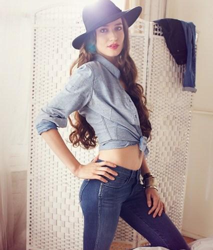 Moisturising jeans modelled by Lizzie Jagger