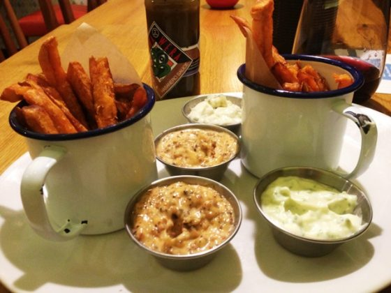 Sweet potato fries with a range of dipping sauces