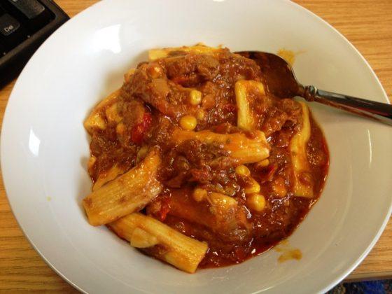 Diet Chef pasta at my desk