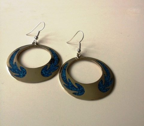 Fire Print Earrings with Crushed Turquoise £12