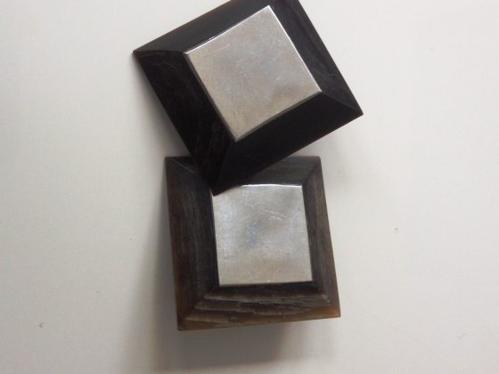Square Earrings With Metal Front £15