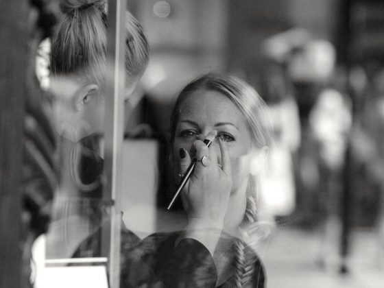 Make up being done on a woman