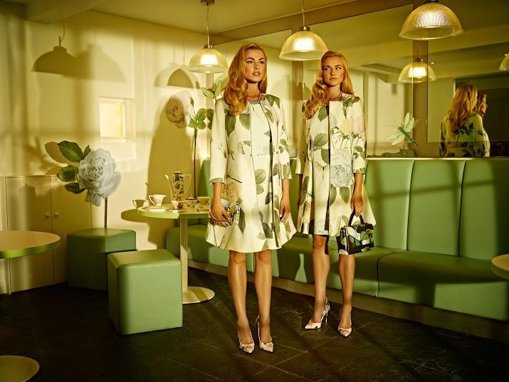 Models in floral dresses