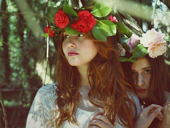 Women with flower headbands